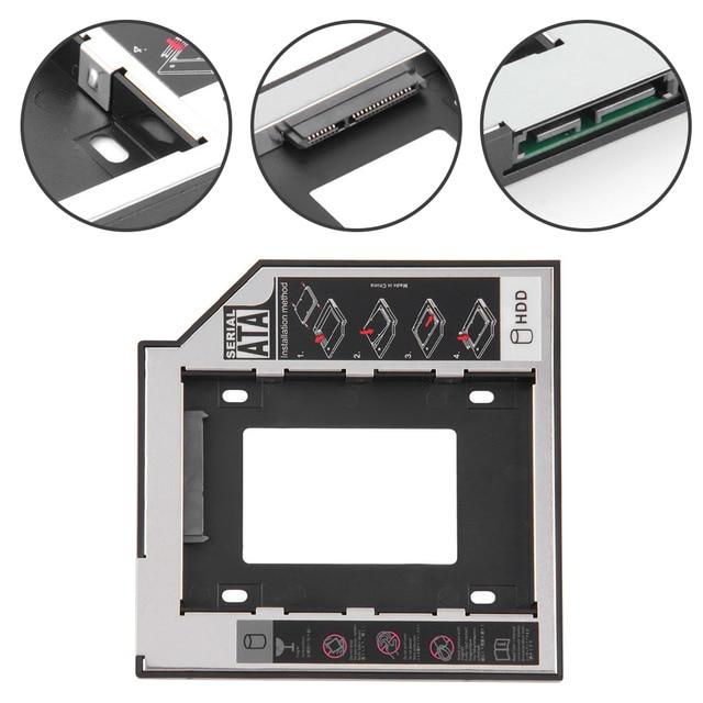 "Recién llegado SATA 3,0 2nd HDD Caddy 9,5mm para 2,5 ""2 TB SSD carcasa de disco duro con LED para portátil DVD-ROM Bahía óptica"