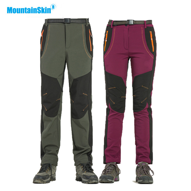 Mountainskin Winter Men Women Hiking Pants Outdoor Softshell Trousers Waterproof Windproof For Camping Ski Climbing MA218