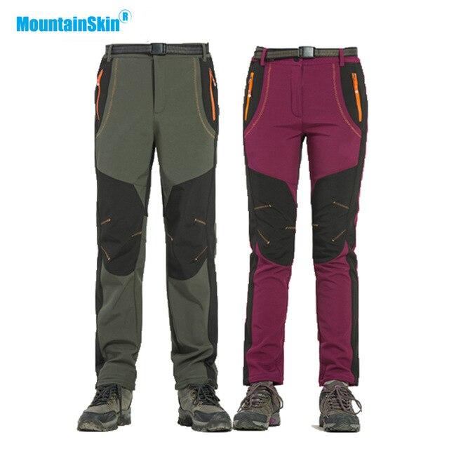 Mountainskin de invierno de las mujeres de los hombres pantalones de senderismo al aire libre Softshell pantalones impermeable a prueba de viento para Camping esquí escalada MA218