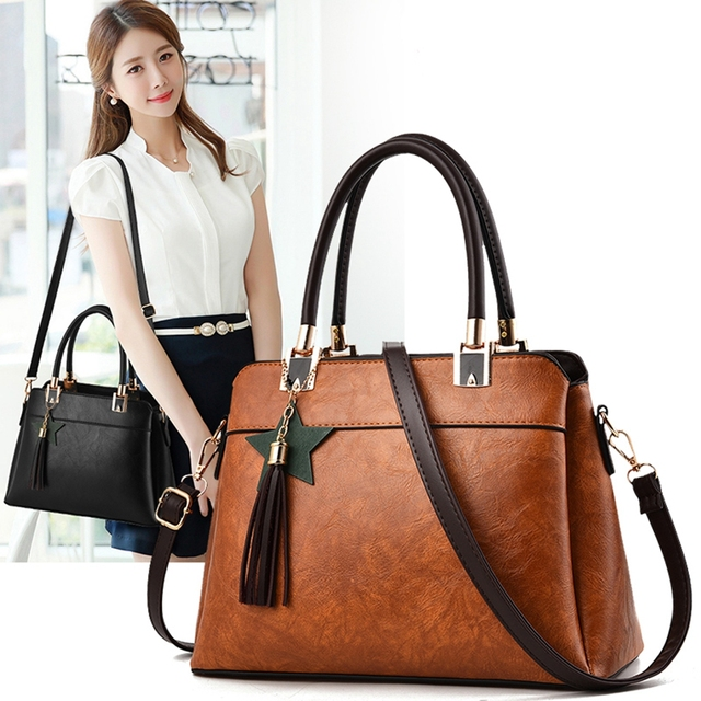 8432857be96b Hot sale 2018 Fashion Designer Brand Women Leather Handbags ladies Shoulder  bags tote female Retro Vintage