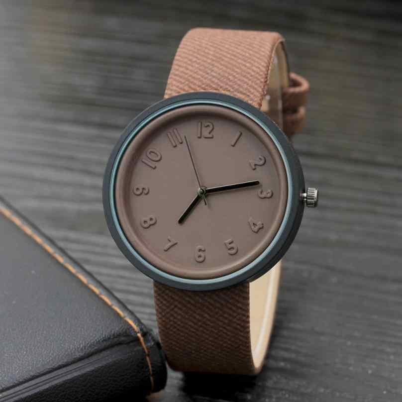 יוניסקס פשוט אופנה מספר שעונים קוורץ בד חגורת שעון יד #1016