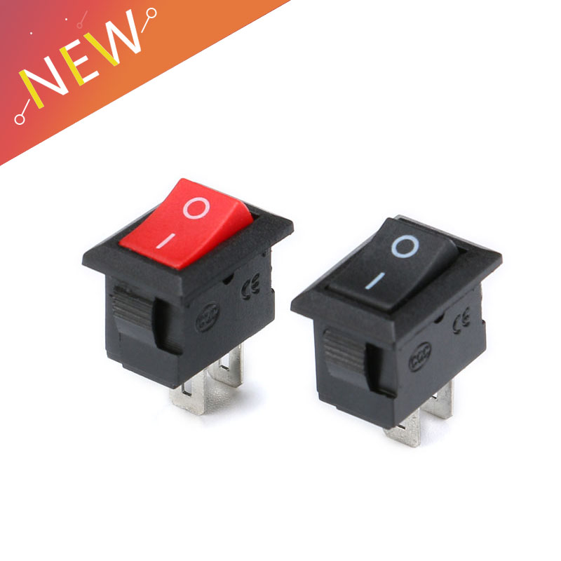 10Pcs 10*15MM Small Black Rocker Switch KCD1-11 250VAC//3A 6A 125V AC 2P Switc.US