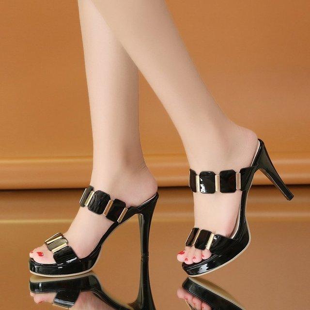 2018 verano elegante mujeres Super tacones altos Sandalias Zapatos moda  señoras tacones delgados plataforma Peep Toe 15fa53a5fbbd