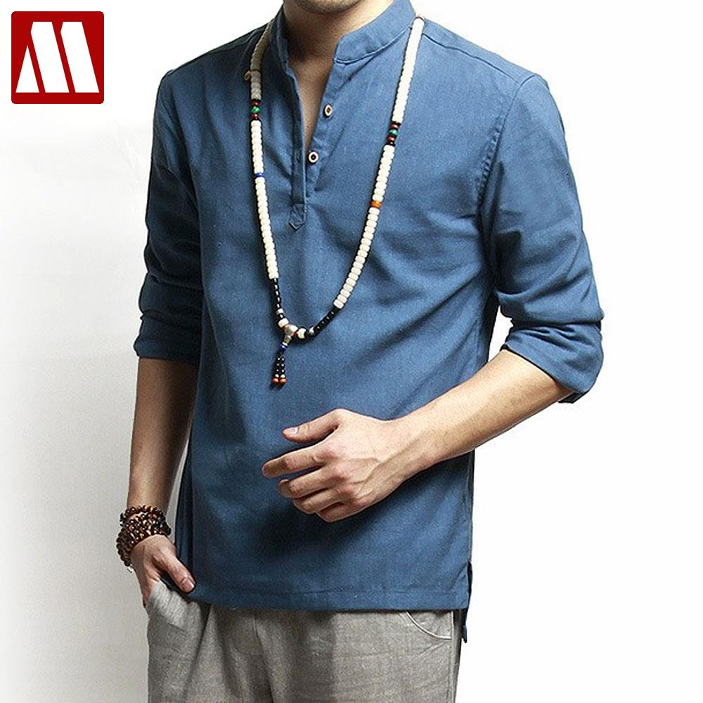 Asian fashion mens pullover shirt for summer long sleeve linen ...