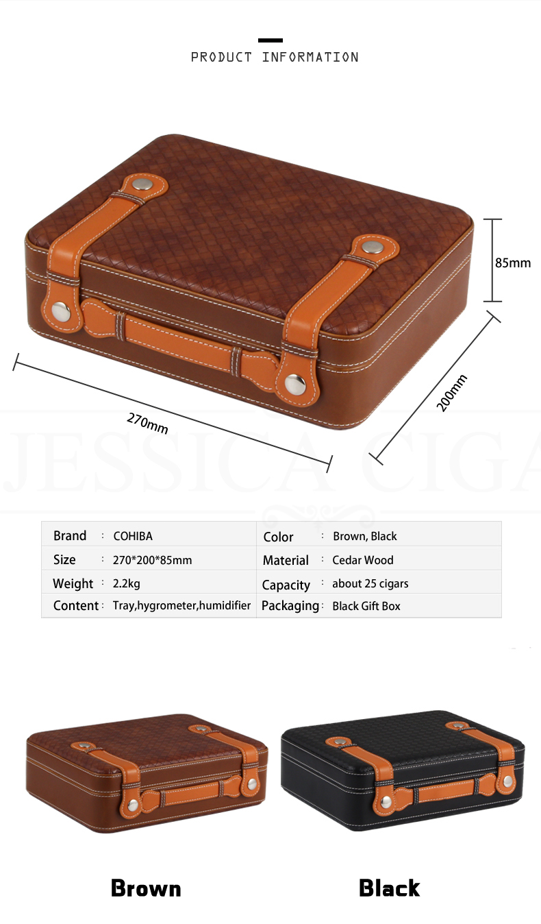 COHIBA Leather Travel Humidor Cigar Box Cedar Wood Portable Cigar Case blunt