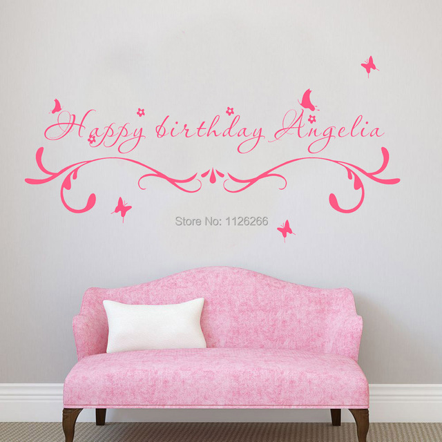 Custom made happy birthday creative wall stickers quotes personalized unparalleled vinyl art decals for kids room