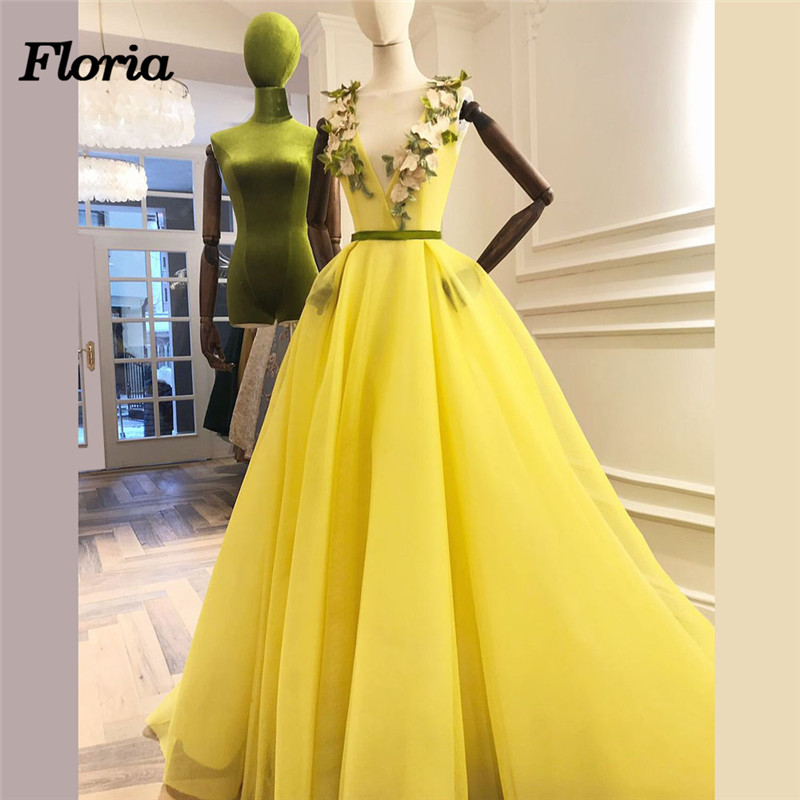 African Couture New Yellow   Evening     Dresses   2018 Dubai Turkish Arabic Pageant   Dress   Formal Prom Gowns Robe de soiree Abendkleider