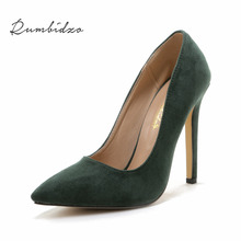 Rumbidzo Plus size Women Pumps 2018 Sexy High Heels Pointed Toe Party Shoes Woman Wedding Office Pumps Red Green Zapato Mujer