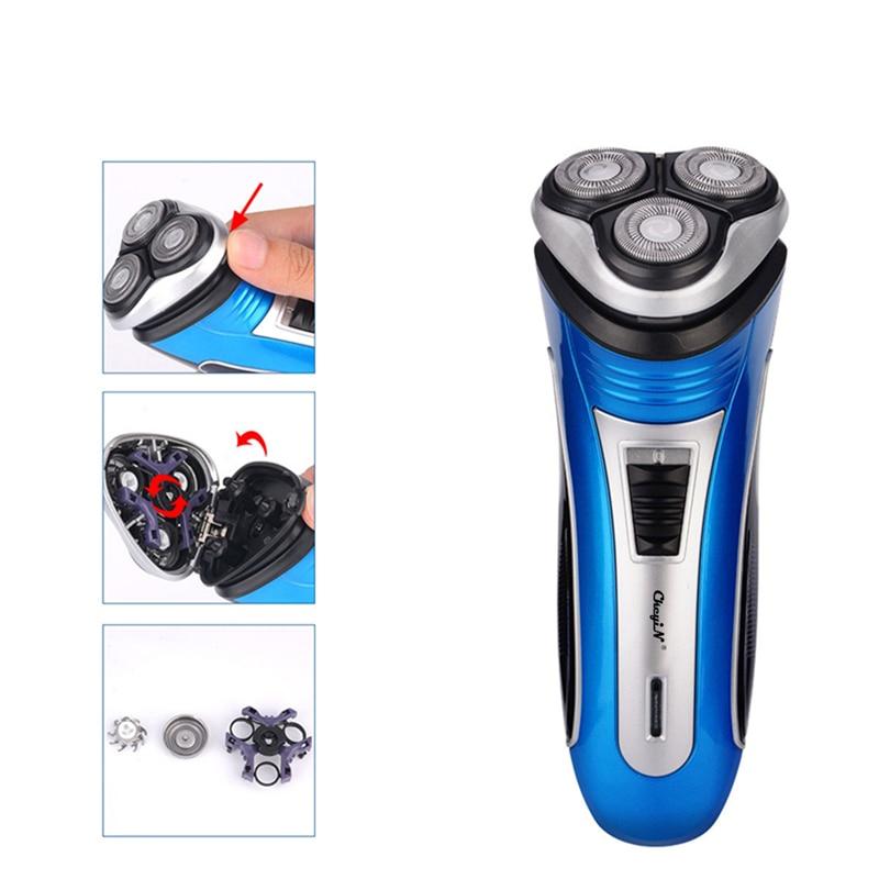 100-240V Rechargeable Electric Shaver 3D Triple Floating Blade Heads Shaving Razors Face Care Men Beard Trimmer Barber Machine