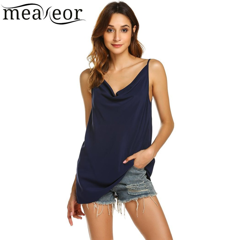 Meaneor Fashion Basic Women Top Tees Cool O-Neck Casual Women Tank Tops Sleeveless Solid Loose Summer Tank for Women Camis