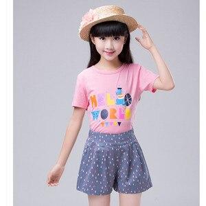 Image 5 - 4 a 14 anos crianças e adolescentes meninas verão impressão geométrica doce doce cor algodão casual shorts menina moda curto bottoms