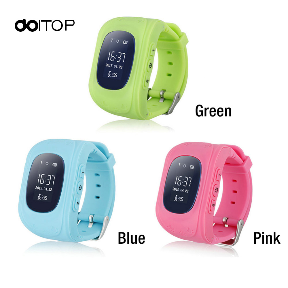 DOITOP Q50 LCD Anti Lost GPS Child Smart Watch Monitor Position Watch SOS Call Location <font><b>Tracker</b></font> for Child Kids GPS Wristwatch