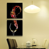 3 Panels Home Decor Wall Decorative Painting Wine Glass Printed On Canvas In The Kitchen No