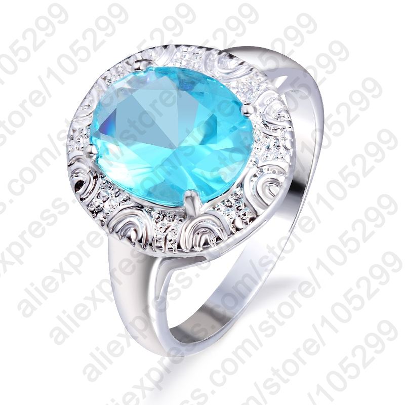 PATICO Exquisite Jewelry Round 925 Sterling Silver Wedding Rings For Women Bijoux Cubic Zircon Crystal Engagement Rings