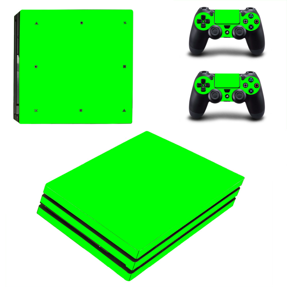 Green For PS4 Pro Skin Sticker For Sony Playstation 4 Pro Console and 2Pcs Controller Skins free shipping