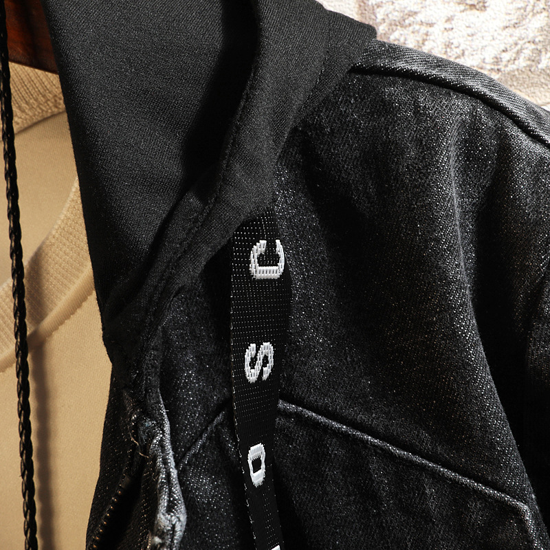 Chaud Casual Capuchon Fit Streetwear Jean Hommes Vintage Outwear Vestes Denim Manteaux Jeans Mode Vêtements Black À Slim De Veste wwaFPg