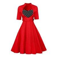 Frauen Sommer Stil Inspirierte Vintage 1950 s 60 s Robe Sexy Vestidos 2017 Stehkragen Dot Rockabilly Pinup Schaukel Sommer Retro Kleid