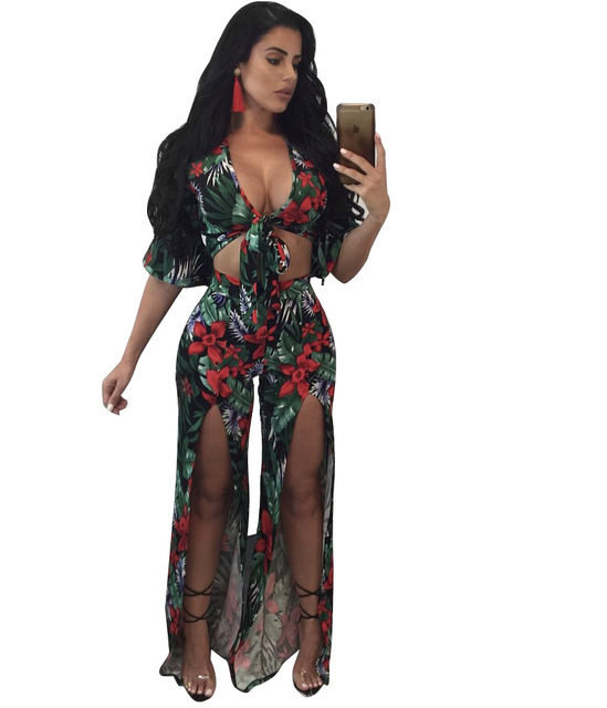 9f64052fe5ae Two Piece Outfits Print Jumpsuit Women Split Sexy V Neck Half Sleeve Wide  Leg Romper Bodycon Jumpsuit Overalls Plus Size S-XXXL