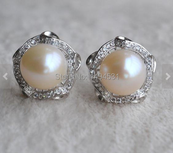 Bijoux de perle de mariage, couleur blanche argent Sterling 10.5-11mm véritable boucles d'oreilles perle d'eau douce, cadeau de fête de demoiselle d'honneur.