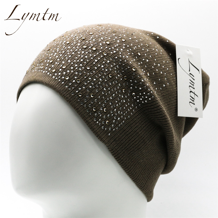 [Lymtm] Womens Winter Knitted Hats 2018 Fashion Safety Pin Warm Imitation Wool Rhinestones Skull Beanies Caps
