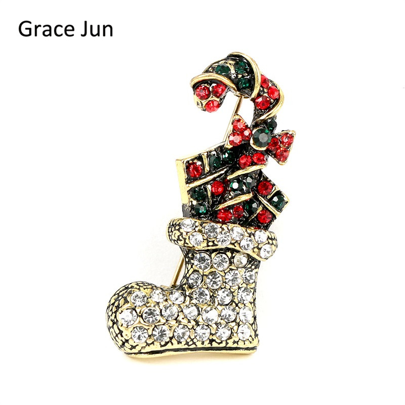 3 Color Choose Creative Rhinestone Christmas Sled boot Brooches High Qulity Xmas Fashion Cute Ornament Hat Lapel Pins Brooches
