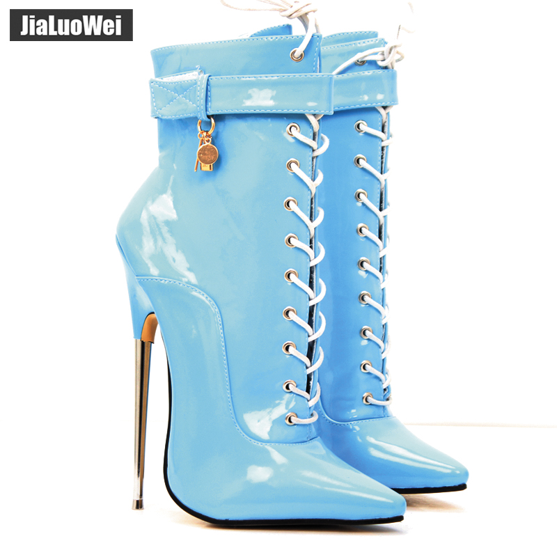 jialuowei 7 Super High Heel Fashion Sexy Fetish Pointed Toe Stiletto Lace-Up Ankle Boots Plus Size 36-46 jialuowei brand new high heel 7 18cm wedges heel ballet boots sexy fetish lace up patent leather knee high long boots plus size