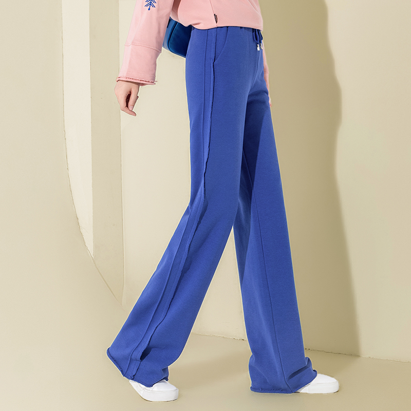 Autumn Cotton High Waist   Wide     Leg     Pants   Blue Palazzo   Pants   Casual Loose Plus Size Drawstring   Pants   Flat Women Long Trousers 2018