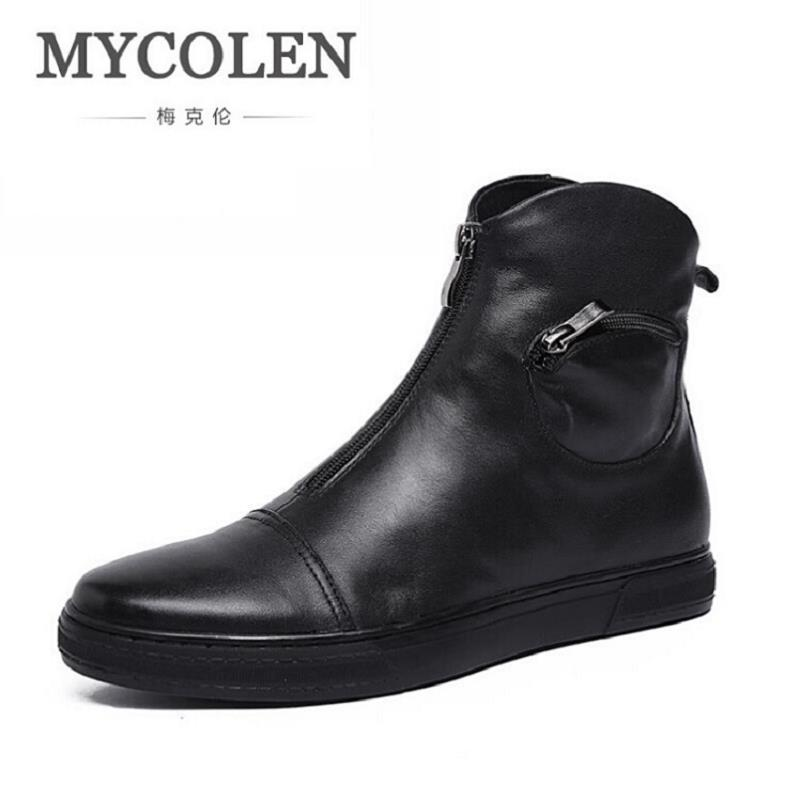 MYCOLEN Fashion Winter Men Ankle Boots British Style Genuine Leather Personality Zipper Motorcycle Martin Boots botas de hombre martin new winter with thick british style short canister female fall side zipper boots