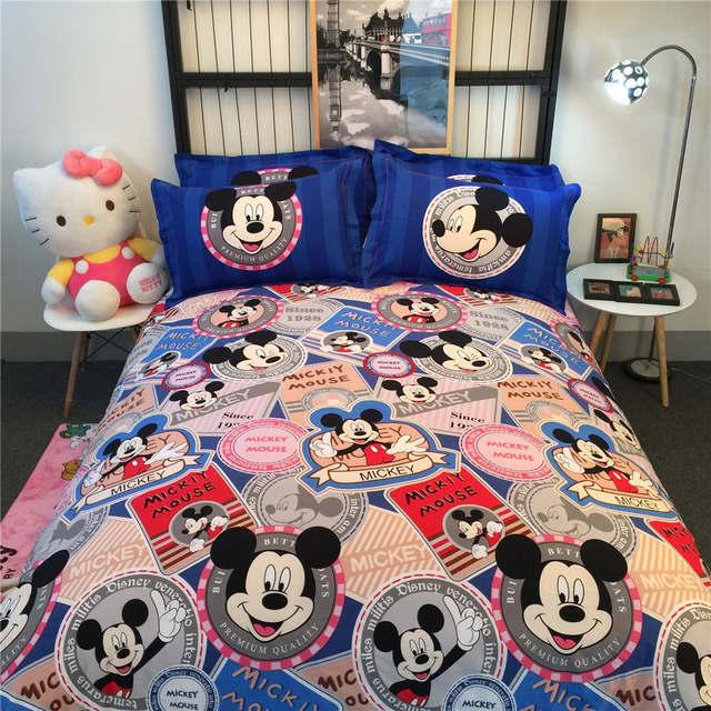 Us 9599 Mickey Maus 3d Druck Decken Bettwäsche Quiltbettbezüge Schleif Baumwolle 500tc Woven Mädchen Baby Schlafzimmer Rosa Blau Farbe In