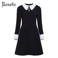 Rosetic Vintage Dress Women Black Autumn Patchwork A line Dress Slim Peter Pan Collar Lady Office Preppy Fashion Gothic Dresses