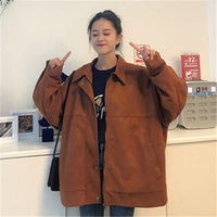 Over size Women's Coat jackets Spring Autumn Loose Female jackets Casual Single Button Women Coat Quality Ladies Coat tops T59
