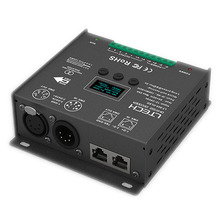 Nieuwe Led DMX Decoder Controller; DC12 24V ingang; 5A * 5CH output RGB/RGBW Led Controller XLR 3/RJ45 8/16 bit 256/65536 Grijs niveau