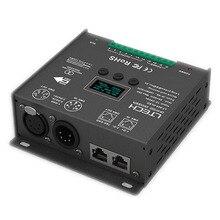 Nowy Led DMX kontroler; DC12 24V wejście; 5A * 5CH wyjście RGB/RGBW kontroler Led XLR 3/RJ45 8/16 bit 256/65536 szary poziom
