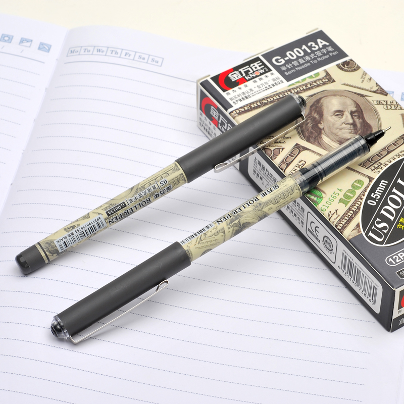 US Dollar 0.5mm Semi Neddle Tip Roller Pen Busniess Signature Pen Black Gel Pens Creative Office School Stationery Wholesale
