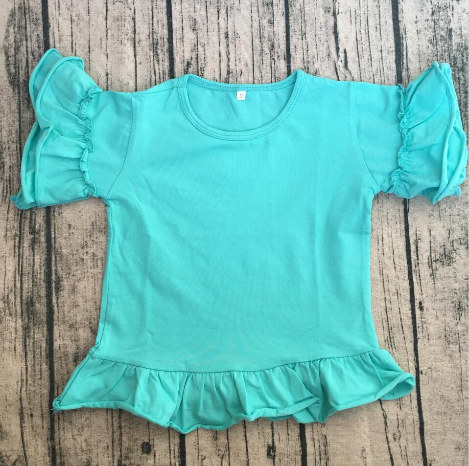 ec2f9691 Wholesale Girls Cute T Shirt Multiple Colors Monogram baby girls fancy t  shirt Children Custom ruffled Plain white Shirts-in Tees from Mother & Kids  on ...