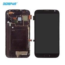 AAA Negro Para Samsung Galaxy Nota 2 N7100 Pantalla LCD de Reemplazo de Pantalla Táctil Digitalizador Asamblea con marco, envío libre