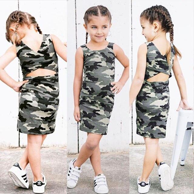 2018 Da Criança Do Bebê Dos Miúdos Meninas Camo Vestido Sem Costas Roupas Pouco Gilr Festa Vestidos Casuais Vestido de Verão Roupa Roupas