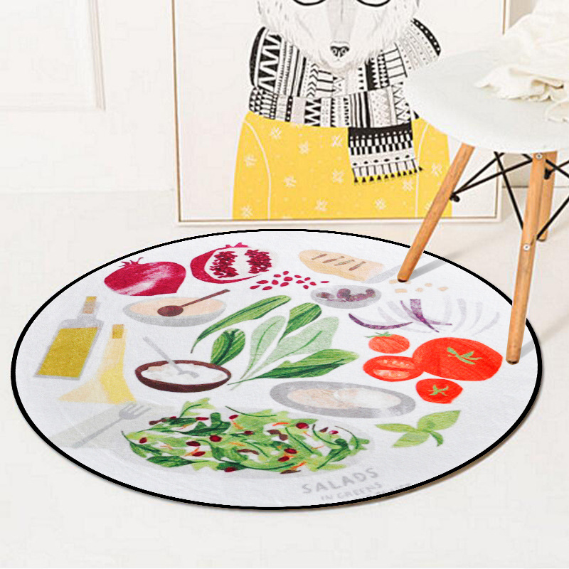 Funny Fruit Pattern Decorative Floormat Computer Chair Living Room Bedroom Round Carpet  ...