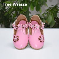 2017 Autumn Kids Shoes Girls Princess Small Flowers Sandals Children Casual Soft Leather Shoes For Girl