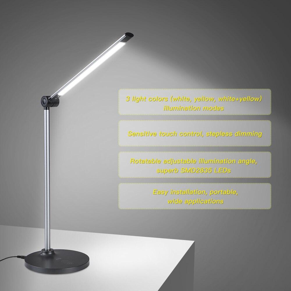 6W 60LED Desk Lamp Light Touch Control Brightness Adjustable Foldable Table Lamp Night Light for Living Study Room Bedroom