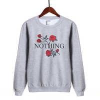 2019 Hot Spring Women Hoodies Sweatshirt Fleece High Quality Tracksuit Nothing Letters Rose Printed Hoodie Kawaii Kpop Pullover