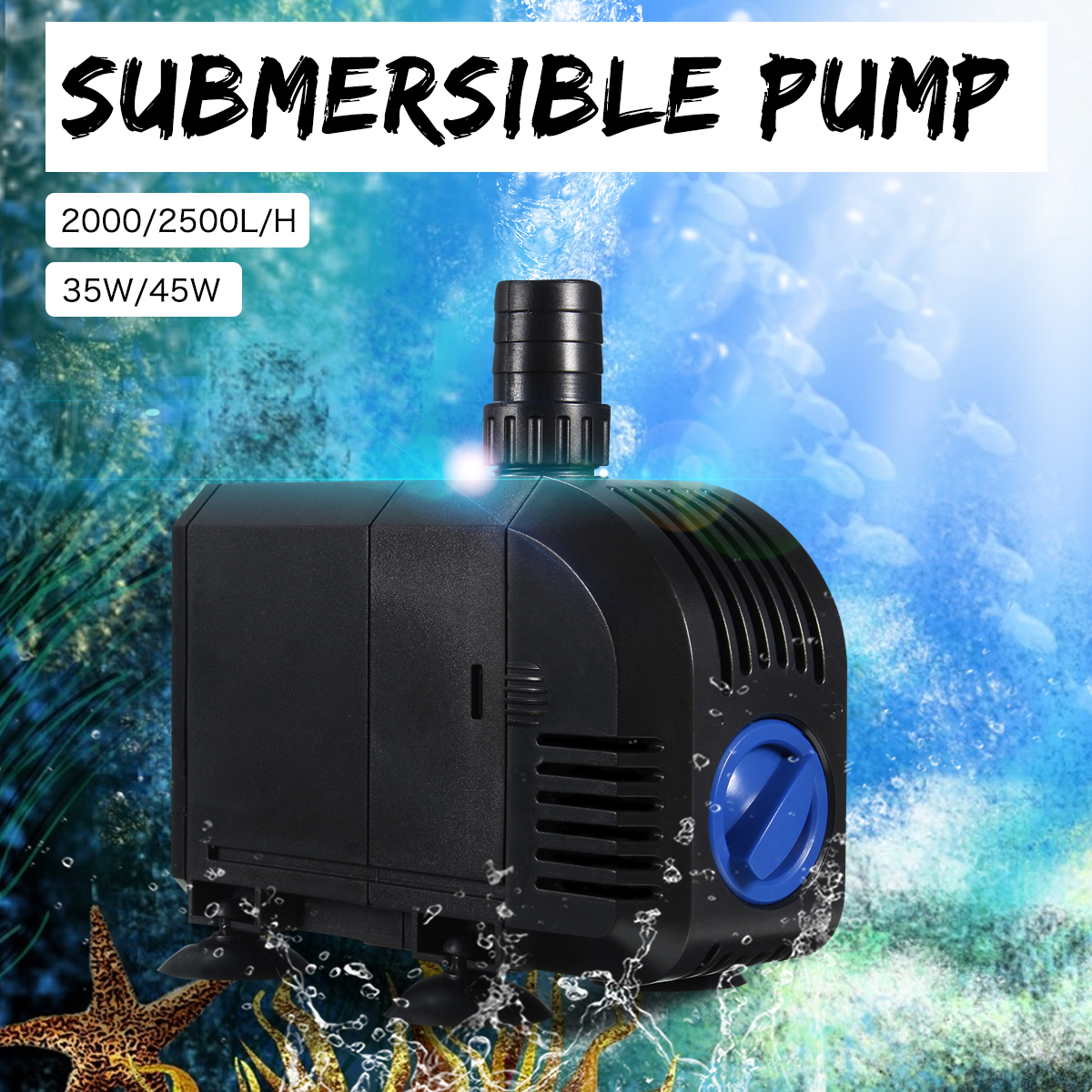 35W/45W Waterproof Multi-Functional Submersible Water Pump for Aquarium Fountain Fish Tank Pool Pond Water Sump Filter Pump free shipping clb series submersible water pump for pond