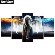 Полный квадратный алмаз 5D DIY алмазной живописи «5 шт. ангел с крыльями» Вышивка вышивки крестом горный хрусталь мозаика живопись декор