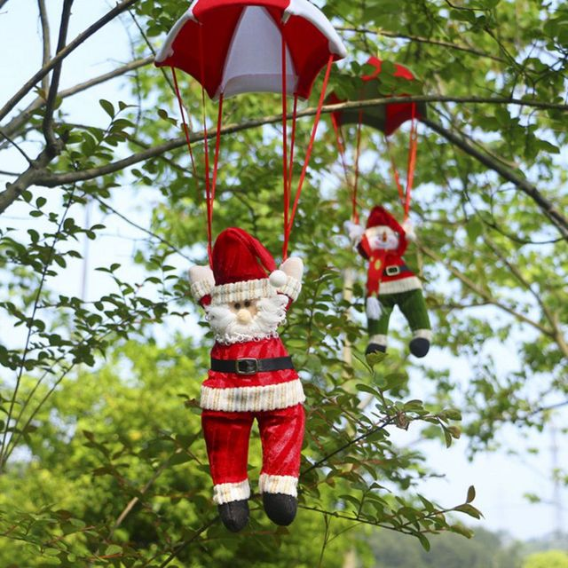 2017 Christmas Home Ceiling Decorations Parachute 28cm Santa Claus Smowman New Year Hanging Pendant Decoration