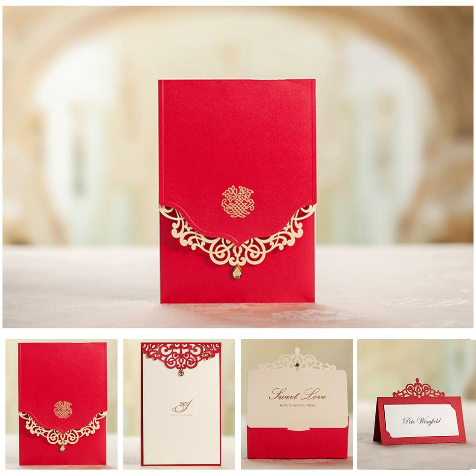 Royal red wedding invitation card and menu customized printing royal red wedding invitation card and menu customized printing favor boxes name card 5509 matching serise free shipping in cards invitations from home stopboris Image collections