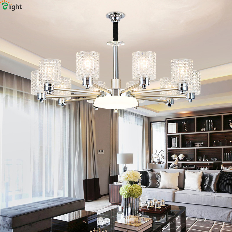Modern Chrome Metal Led Chandeliers Lighting Living Room Glass Led Pendant  Chandelier Light Dining Room Hanging Lamp Fixtures