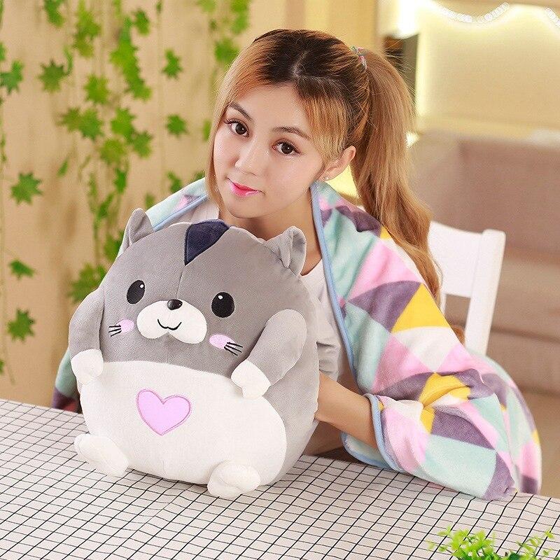 1 pc 35 cm doux dessin animé amant hamster repos bureau coussin + chaud en peluche couverture dame peluche jouet cadeau romantique pour bébé