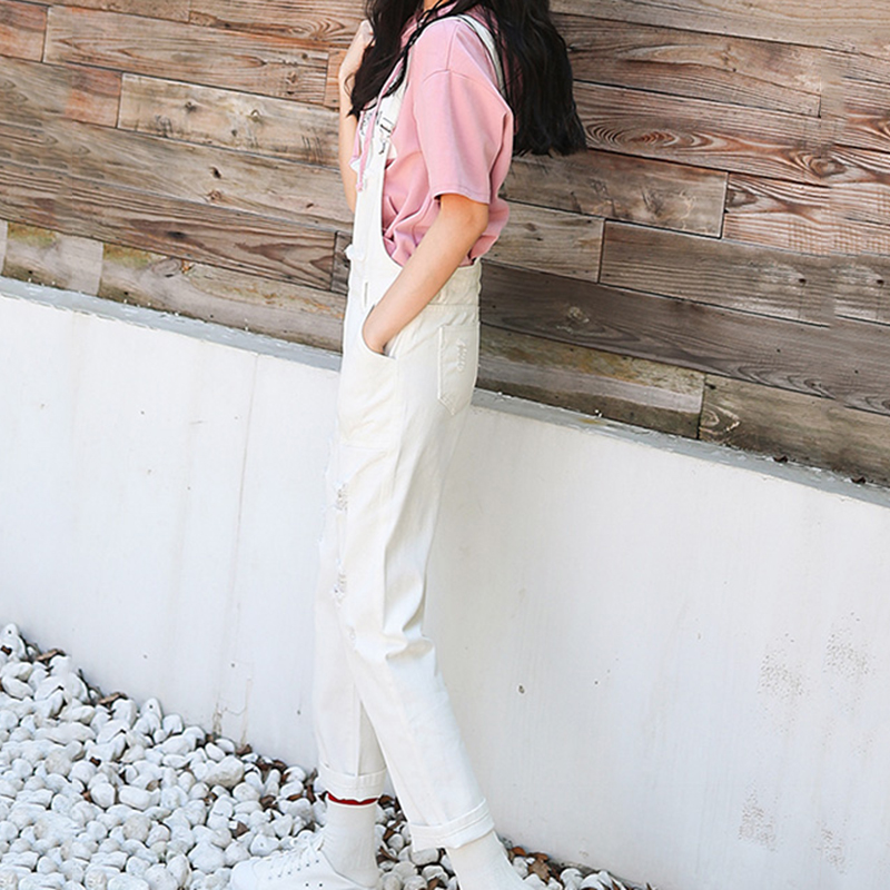 Denim Jumpsuit Women Solid Hole Jeans Jumpsuit Rompers Women Korean Fashion Suspender Monos Largos Mujer Pantalon Largo Overalls 5