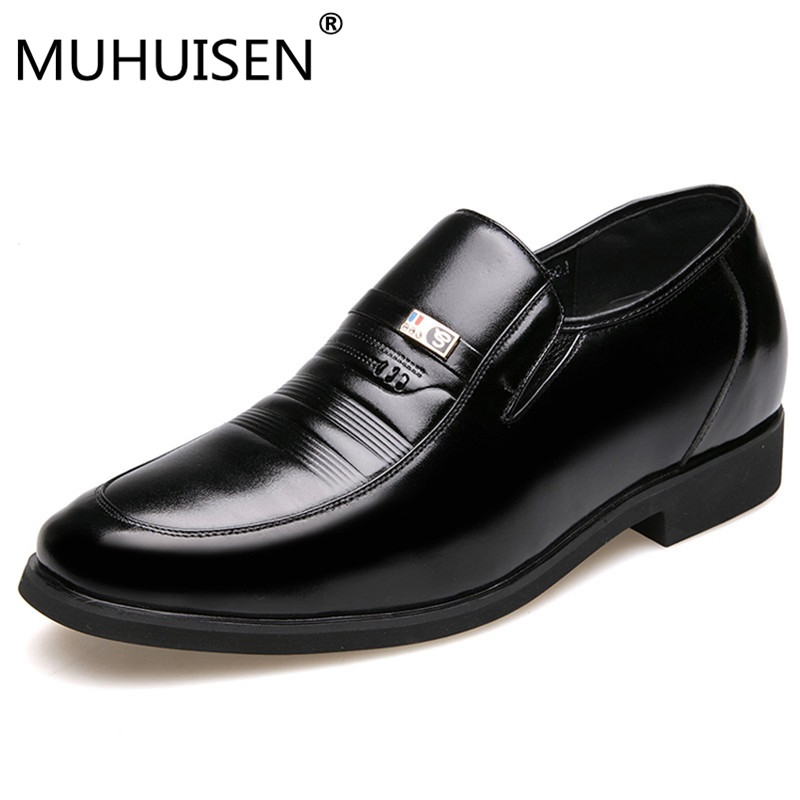 MUHUISEN Mens Height Increasing Shoes Genuine Leather Classic Elevator 6CM Formal Dress Shoes Male Wedding Business Shoes Loaf