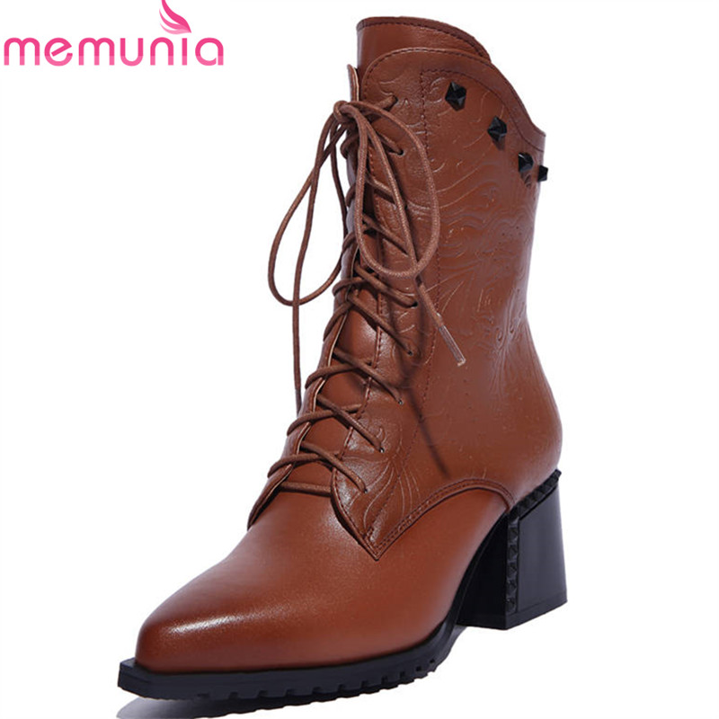 MEMUNIA 2018 hot sale boots women pointed toe genuine leather autumn winter lady boots lace up rivet mid calf boots dress shoes